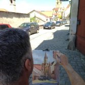 Artist at work in Sibiu